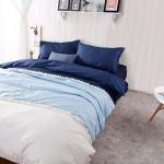 ผ้าปูที่นอน สีพื้นสไตล์เกาหลี สีน้ำเงินเข้ม