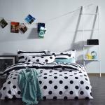 ผ้าปูที่นอน สีขาว-ดำ ลายขาว จุดสีดำ