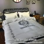 ผ้าปูที่นอน ผ้าไหมซาติน สุดหรูหรา งานปัก CHORME