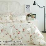 ผ้าปูที่นอน สไตล์วินเทจ พิมพ์ลายดอกไม้ สีครีม