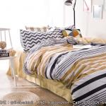 ผ้าปูที่นอน ลายเส้นสีเหลือง-ดำ สีพื้นสีเหลือง