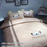ผ้าปูที่นอน ลายหมี Mila bear สีน้ำตาล หมอนมีหู