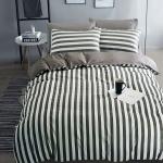 ผ้าปูที่นอน ลายเส้น สีเทา-ดำ