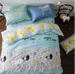 ผ้าปูที่นอน ลายสวย สีฟ้า