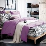 ผ้าปูที่นอน ลายม้าลาย Zebra Bedding สีม่วงอ่อน