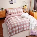 ผ้าปูที่นอน ลายตาราง สก๊อต สีชมพู