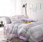 ผ้าปูที่นอน ลายสวย สีเทา-ม่วง