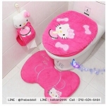 อุปกรณ์ในห้องน้ำ,ชุดคลุมฝาชักโครก ลายคิตตี้ Kitty (สีเข้ม)