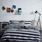 ผ้าปูที่นอน สีขาว-ดำ ลายขวาง