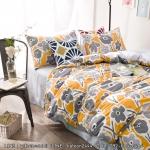 ผ้าปูที่นอน ลายเส้นดอกไม้ สีเหลือง-เทา