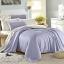 ผ้าปูที่นอน ผ้าเทนเซล tencel สีพื้นทูโทน ม่วง-ครีม thumbnail 1