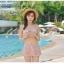 ชุดว่ายน้ำ บิกินี่เซ็ท 3 ชิ้น ลายดอกขาว สีชมพูนู๊ด thumbnail 4