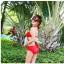 ชุดว่ายน้ำ บิกินี่ ทูพีช บราผูก Red thumbnail 2