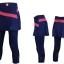 กางเกงกระโปรงปั่นจักรยานขายาวผู้หญิง 3/4 SOUKE สีน้ำเงินเข้ม : SKT0206 thumbnail 1