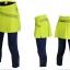กางเกงกระโปรงปั่นจักรยานขายาวผู้หญิง 3/4 SOUKE สีเขียว : SKT0204 thumbnail 1