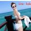ชุดว่ายน้ำวินเทจ แบบวันพีช ซีทรูกลางตัว กระโปรงถอดได้ สีขาว thumbnail 2