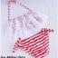 ชุดว่ายน้ำ บิกินี่ ทูพีช บราแต่งลูกไม้ สีแดงขาว thumbnail 3