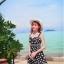 ชุดว่ายน้ำวินเทจ แบบวันพีช เดรสทรงเอ ลายดอก สีดำ thumbnail 1