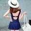 ุชุดว่ายน้ำวันพีช แบบกระโปรง คอวี โชว์หลัง สีน้ำเงิน thumbnail 2