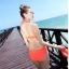 ชุดว่ายน้ำวินเทจ แบบวันพีช ซีทรูกลางตัว กระโปรงถอดได้ สีส้ม thumbnail 3
