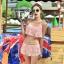 ชุดว่ายน้ำ บิกินี่ ทูพีช แบบลูกไม้ Pink thumbnail 2