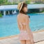 ชุดว่ายน้ำ บิกินี่เซ็ท 3 ชิ้น ลายดอกขาว สีชมพูนู๊ด thumbnail 3