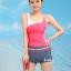 ชุดว่ายน้ำ แบบสปอร์ต กางเกงขาสั้น เสื้อกล้าม สีชมพู thumbnail 1