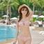 ชุดว่ายน้ำ บิกินี่เซ็ท 3 ชิ้น ลายดอกขาว สีชมพูนู๊ด thumbnail 2