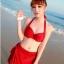 ชุดว่ายน้ำ บิกินี่เซ็ท 3 ชิ้น บราผูก พร้อมผ้าเอนกประสงค์ สีแดง thumbnail 1