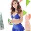 ชุดว่ายน้ำ บิกินี่เซ็ท 3 ชิ้น เสื้อลายดอก Blue ชุดว่ายน้ำแบบเซ็ท thumbnail 2
