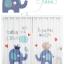 ผ้าม่าน ลายการ์ตูนช้างน้อย สีน้ำเงิน-ขาว thumbnail 3