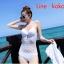 ชุดว่ายน้ำวินเทจ แบบวันพีช ซีทรูกลางตัว กระโปรงถอดได้ สีขาว thumbnail 3