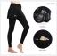 กางเกงกระโปรงปั่นจักรยานขายาวผู้หญิง SOUKE สีดำ ผ้ากำมะหยี่ : SKT0302 thumbnail 2