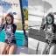 ชุดว่ายน้ำ แขนยาว ขาสั้น ขาว-ดำ ลายขวาง thumbnail 3