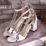 รองเท้าส้นสูง ZARA Style หนังดีเทลลายกราฟิกหินอ่อน สวยดูดี ทรงสวม รัดข้อ ใส่สวยสบาย รัดข้อเท้าสายปรับกระชับได้ แมทสวยได้ทุกชุด สูง 3 นิ้ว (FHT-002-1)