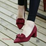 รองเท้าคัทชู ส้นตัน หรูหราน่ารัก หนังสักหลาด หน้าแต่งโบว์ตามสี สุภาพ ดูดี คลาสสิค ทรงเก็บหน้าเท้าดี แมทสวยได้ทุกชุด สีดำ แดง สูง 2 นิ้ว