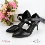 รองเท้าคัทชู หัวแหลม ส้นเข็มรัดส้น เรียบหรูดูดี วัสดุหนัง PU สีดำสุภาพ สามารถปรับตะขอหลังได้ ใส่สบาย สีดำ สูง 3.5 นิ้ว