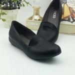 รองเท้าคัทชูส้นเตี้ย แบบเรียบร้อย สไตล์เพื่อสุขภาพ หนังพียูนิ่ม ซับในนุ่ม พื้นไม่ลื่น ใส่สบาย ได้ทุกโอกาส สีดำ เทา