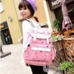 กระเป๋าเป้แฟชั่น สวยน่ารัก สไตล์เกาหลี สะพายหลังใบใหญ่ สีชมพูสดใส มีช่องด้านหน้า จุเยอะ ใส่ของเดินทางสบาย ขนาด 13×29×42 cm.(กว้างx ยาวxสูง)