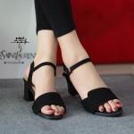 รองเท้าแฟชั่น สีดำ ส้นสูงเปิดหน้า รัดข้อ สวยเรียบเก๋ สายรัดแบบตะขอเกี่ยว ใส่ง่าย สูง 2.5 นิ้ว น้ำหนักเบา เดินง่าย แมทซ์สวยได้ทุกชุด (NF33063)