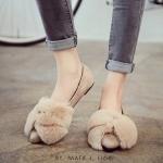 รองเท้าคัทชู สุดน่ารัก หัวแหลมแต่งเฟอร์นุ่มมาก หน้ากว้างใส่สบายสุดๆ ผ้าสักหลาดนิ่มไม่กัดเท้า สีดำ เทา เบจ (H66)