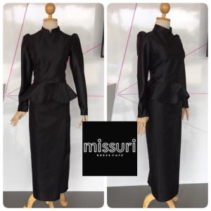 ชุดไทยพระราชนิยม ชุดไทยบรมพิมาน ประยุกต์ ผ้าไหมอิตาลี สีดำ