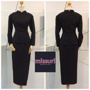 ชุดไทยพระราชนิยม ชุดไทยบรมพิมาน ผ้าฝ้าย อัดผ้ากาวทั้งชุด สีดำ