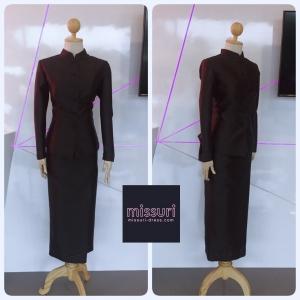 ชุดไทยพระราชนิยม ชุดไทยจิตรลดา ผ้าฝ้าย สีดำ ใช้ในงานพระราชพิธีสำคัญ