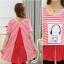 เสื้อคนท้องตัวยาวผ้ายืดลายขวางแดง-ขาว แต่งลาย thumbnail 4