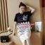 ชุดคลุมท้องเกาหลีผ้ายืดสีกรมท่าสกรีนรูปแมว เย็บทับด้วยผ้าลูกไม้สีขาว thumbnail 1