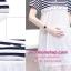 ชุดคลุมท้องสวยเปิดให้นมได้ผ้ายืดสีกรมท่า-ขาวต่อกระโปรงผ้าลูกไม้โปร่งสีขาว thumbnail 7