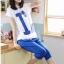 ชุดเสื้อกางเกงคลุมท้องผ้ายืด เสื้อขาวสกรีน I'm กางเกงสีฟ้าเข้ม thumbnail 2