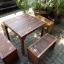 """ชุดโต๊ะเก้าอี้ระแนงไม้เนื้อแข็ง """"เก้าอี้ล้อม"""" thumbnail 3"""