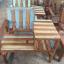 เก้าอี้ไม้เก่าพร้อมโต๊ะข้าง thumbnail 3